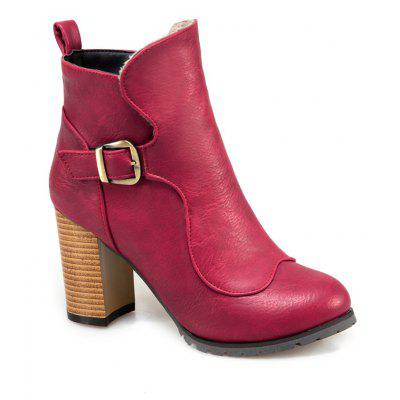 Women's Ankle Boots Solid Color Round Toe All Match Zipper Vogue Buckle Shoes
