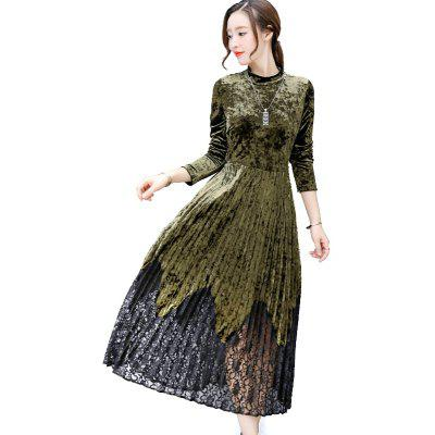 Autumn and Winter New Self-Cultivation Waist High-Necked Gold Velvet Long-Sleeved Pleated Dress