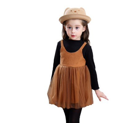 Girls Autumn Style Long Sleeve Fake Two Dresses
