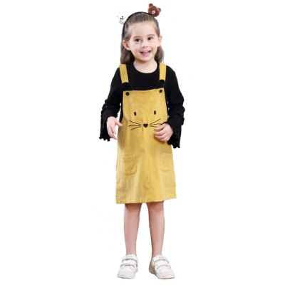 Girls Autumn Fashion Dress Embroidered Cat Corduroy