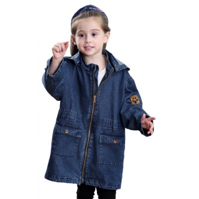 Girls Winter Fashion Jeans Long Sleeved Coat Removable Cap