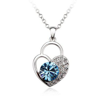 Sterling Silver Heart Shaped Lock Blue Crystals Jewelry Pendant Necklace for Women girls
