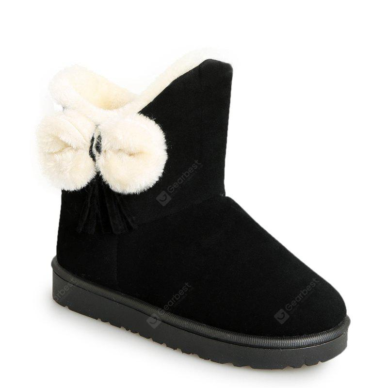 BLACK 38 Winter Short Female Short Sleeve Snow Boots Fashionable Suede Plus Anti Slip Boots
