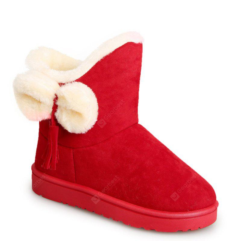 AMERICAN BEAUTY 36 Winter Short Female Short Sleeve Snow Boots Fashionable Suede Plus Anti Slip Boots