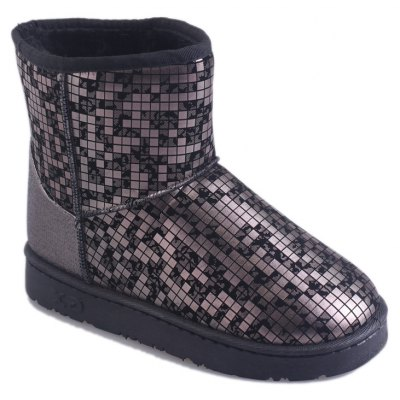 Buy GUN METAL 39 New Women's Fashion Winter And Winter Plus Velvet Warm Snow Boots Flat Bottomed Boots for $47.00 in GearBest store