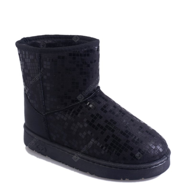 BLACK 36 New Women's Fashion Winter And Winter Plus Velvet Warm Snow Boots Flat Bottomed Boots