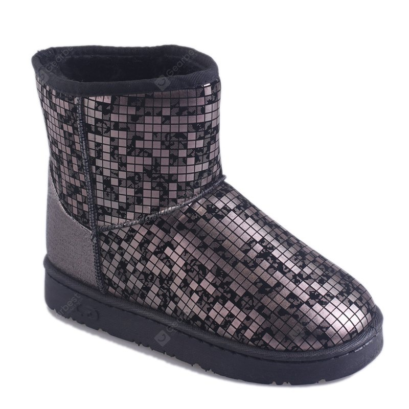 GUN METAL 37 New Women's Fashion Winter And Winter Plus Velvet Warm Snow Boots Flat Bottomed Boots