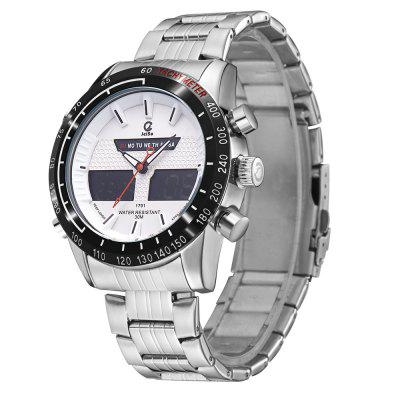 JEISO 1701 4618 Leisure Sports Steel Band Male WatchMens Watches<br>JEISO 1701 4618 Leisure Sports Steel Band Male Watch<br><br>Band material: Fine steel<br>Band size: 23 x 2.4cm<br>Brand: JEISO<br>Case material: Alloy<br>Clasp type: Folding clasp with safety<br>Dial size: 4.6 x 4.6 x 1.6cm<br>Display type: Analog-Digital<br>Movement type: Quartz + digital watch<br>Package Contents: 1 x Watch, 1 x Watch Box<br>Package size (L x W x H): 28.00 x 8.00 x 3.50 cm / 11.02 x 3.15 x 1.38 inches<br>Package weight: 0.2000 kg<br>Product size (L x W x H): 23.00 x 4.60 x 1.60 cm / 9.06 x 1.81 x 0.63 inches<br>Product weight: 0.1700 kg<br>Shape of the dial: Round<br>Watch mirror: Mineral glass<br>Watch style: Fashion, Trends in outdoor sports, Business, Casual<br>Watches categories: Men<br>Water resistance: 30 meters