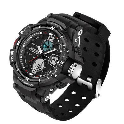 Sanda 289 5300 Double Movement Sports Male WatchMens Watches<br>Sanda 289 5300 Double Movement Sports Male Watch<br><br>Band material: Silicone<br>Band size: 23 x 2.1cm<br>Brand: Sanda<br>Case material: ABS<br>Clasp type: Pin buckle<br>Dial size: 4.6 x 4.6 x 1.1cm<br>Display type: Analog-Digital<br>Movement type: Quartz + digital watch<br>Package Contents: 1 x Watch, 1 x Watch Box<br>Package size (L x W x H): 28.00 x 8.00 x 3.50 cm / 11.02 x 3.15 x 1.38 inches<br>Package weight: 0.0900 kg<br>Product size (L x W x H): 23.00 x 4.60 x 1.10 cm / 9.06 x 1.81 x 0.43 inches<br>Product weight: 0.0600 kg<br>Shape of the dial: Round<br>Watch mirror: Resin glass<br>Watch style: Fashion, Trends in outdoor sports, Casual<br>Watches categories: Men<br>Water resistance: 50 meters