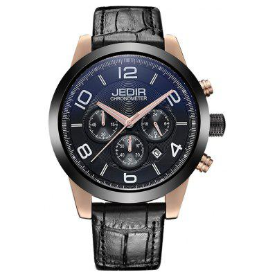 Buy BLACK AND ROSE GOLD JEDIR 2025 5291 Leather Band Male Quartz Movement Watch for $37.46 in GearBest store