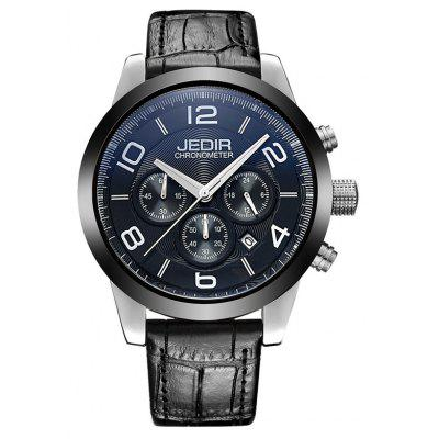 Buy SILVER AND BLACK JEDIR 2025 5291 Leather Band Male Quartz Movement Watch for $37.46 in GearBest store