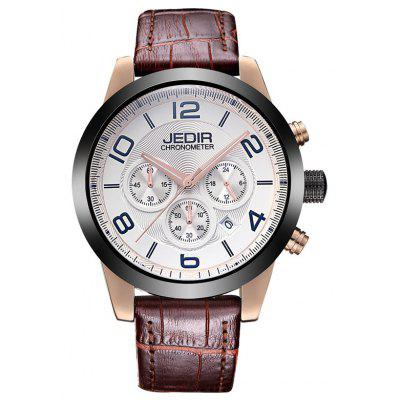 Buy ROSE GOLD AND WHITE JEDIR 2025 5291 Leather Band Male Quartz Movement Watch for $37.46 in GearBest store