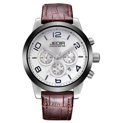 Buy SILVER AND WHITE JEDIR 2025 5291 Leather Band Male Quartz Movement Watch for $37.46 in GearBest store