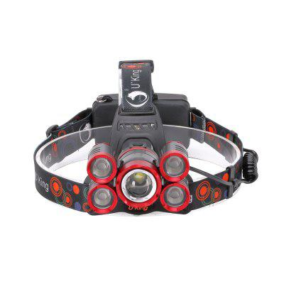 U`King ZQ - X841 4000LM Rechargeable 5-LED HeadlampHeadlights<br>U`King ZQ - X841 4000LM Rechargeable 5-LED Headlamp<br><br>Adjustable Focus: Yes<br>Available Light Color: White<br>Battery Included or Not: No<br>Battery Quantity: 2<br>Battery Type: 18650<br>Beam Distance: &gt;500m<br>Body Material: Aluminium Alloy<br>Color Temperature: 6500 - 7000K<br>Emitters Quantity: 5<br>Feature: Rechargeable, Headlamp, Adjustable Battery Tube<br>Function: Camping, Fishing, Hiking, Hunting<br>Headlight Brand: UKing<br>Luminous Flux: 4000LM<br>Main Emitters: Cree T6,Cree XM-L2<br>Mode: 5 LED Strobe,  5 LED Bright,  4 x Q5 Bright, Middle T6 Bright<br>Mode Memory: No<br>Model: ZQ - X841<br>Package Contents: 1 x Headlamp, 1x Micro USB Charge Cable, 1 x English Manual<br>Package size (L x W x H): 15.00 x 14.00 x 12.00 cm / 5.91 x 5.51 x 4.72 inches<br>Package weight: 0.2800 kg<br>Power Source: Battery<br>Product size (L x W x H): 12.00 x 11.60 x 10.00 cm / 4.72 x 4.57 x 3.94 inches<br>Product weight: 0.2500 kg<br>Rechargeable: Yes<br>Switch Location: Head<br>Switch Type: Press<br>Type: LED Headlamp<br>Waterproof: IPX-4<br>Working Voltage: 3.7V