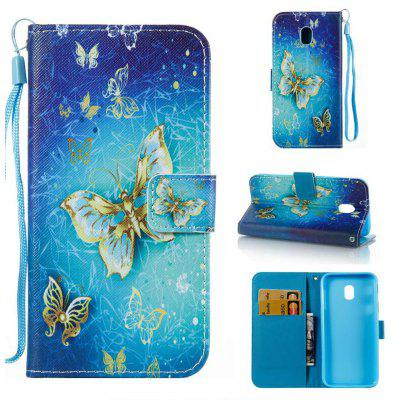 Buy BLUE AND YELLOW The New Painted PU Phone Case for Samsung Galaxy J330 for $5.47 in GearBest store