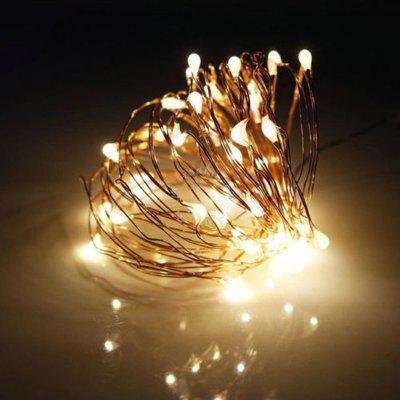 Buy WARM WHITE LIGHT DengZhan 10M 100LED 3AA 4.5V Battery Powered Waterproof Decoration Led Copper Wire Lights String for Christmas Festival Wedding Party for $6.25 in GearBest store