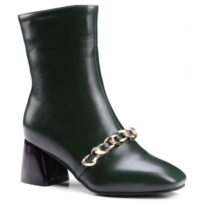 Women's Ankle Boots Metal Ornament Simple Style Zipper Boots