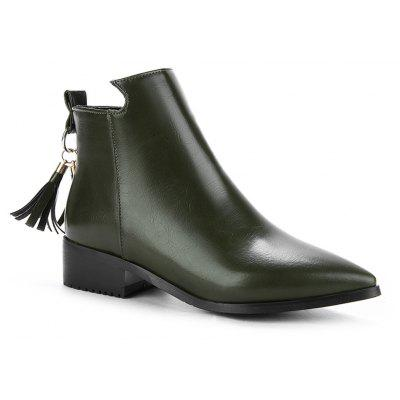 Buy GREEN 35 Women's Bottines Vogue Solid Color Pointed Toe Tassel Pendant Square Heel Shoes for $58.86 in GearBest store