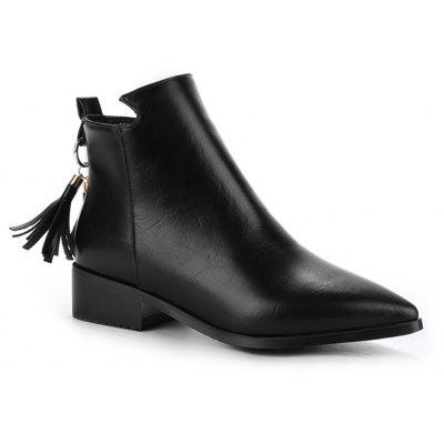 Buy BLACK 34 Women's Bottines Vogue Solid Color Pointed Toe Tassel Pendant Square Heel Shoes for $58.86 in GearBest store