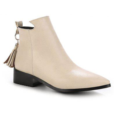 Buy BEIGE 35 Women's Bottines Vogue Solid Color Pointed Toe Tassel Pendant Square Heel Shoes for $58.86 in GearBest store