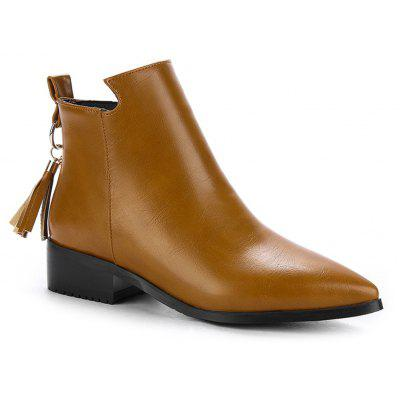 Buy BROWN 37 Women's Bottines Vogue Solid Color Pointed Toe Tassel Pendant Square Heel Shoes for $58.86 in GearBest store
