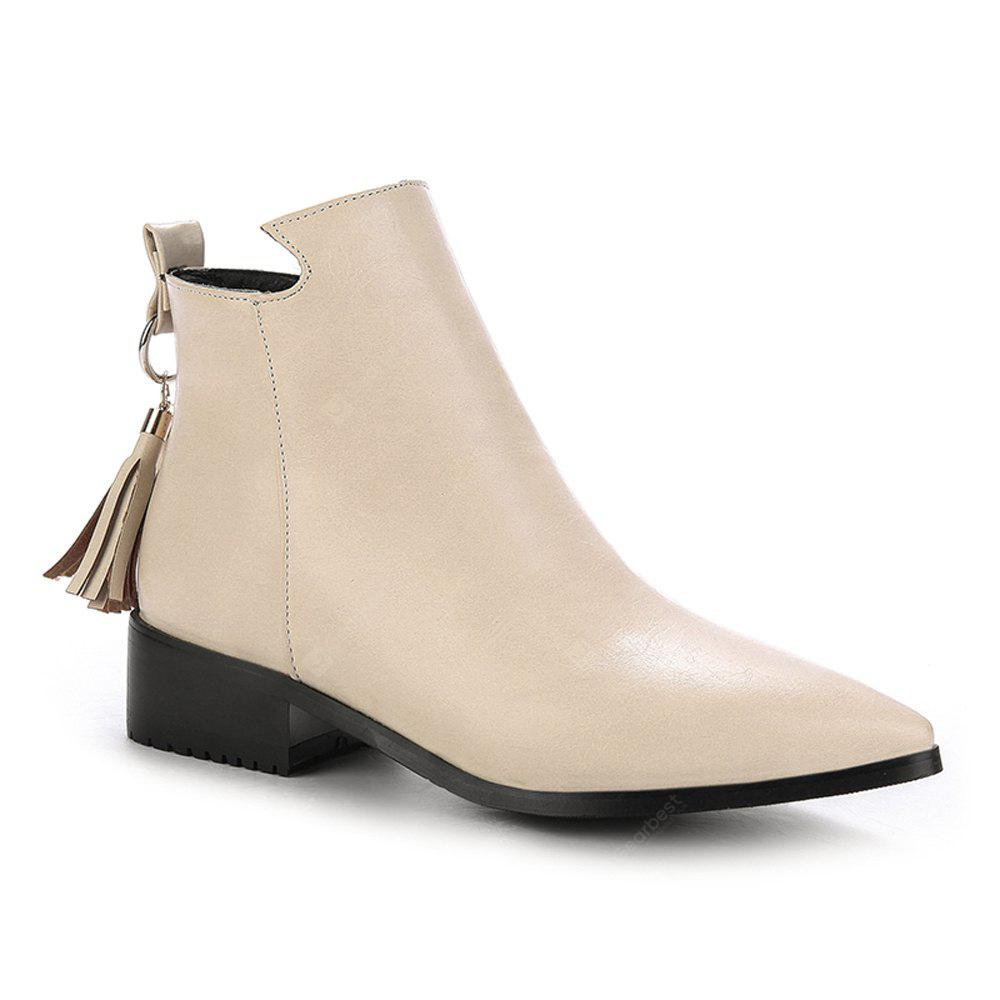 BEIGE 34 Women's Bottines Vogue Solid Color Pointed Toe Tassel Pendant Square Heel Shoes