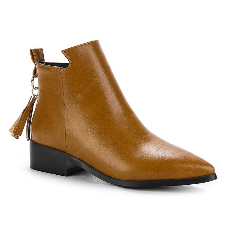 BROWN 34 Women's Bottines Vogue Solid Color Pointed Toe Tassel Pendant Square Heel Shoes