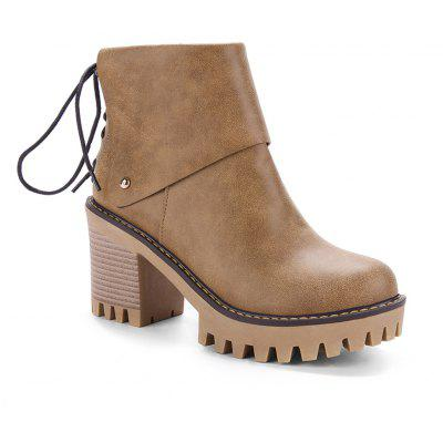 Buy BROWN 37 Women's Ankle Boots Delicate Solid Back Bowknot Round Toe All Match Shoes for $56.24 in GearBest store