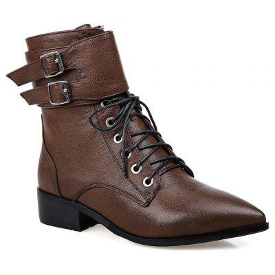 Women's Ankle Boots Strappy Pointed Toe Vogue Comfy All Match Shoes