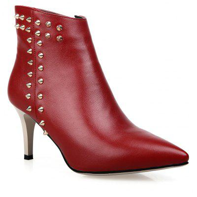 Women's Ankle Boots Thin High Heel Pointed Toe Rivet Ornament Casual Shoes