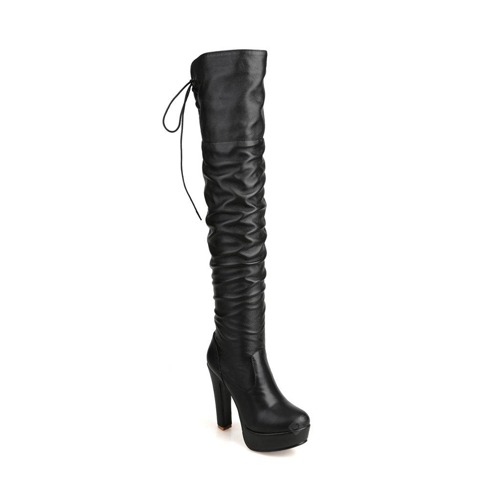 Women's Above Knee Boots High Heel  Fashion Elegant All Match Shoes