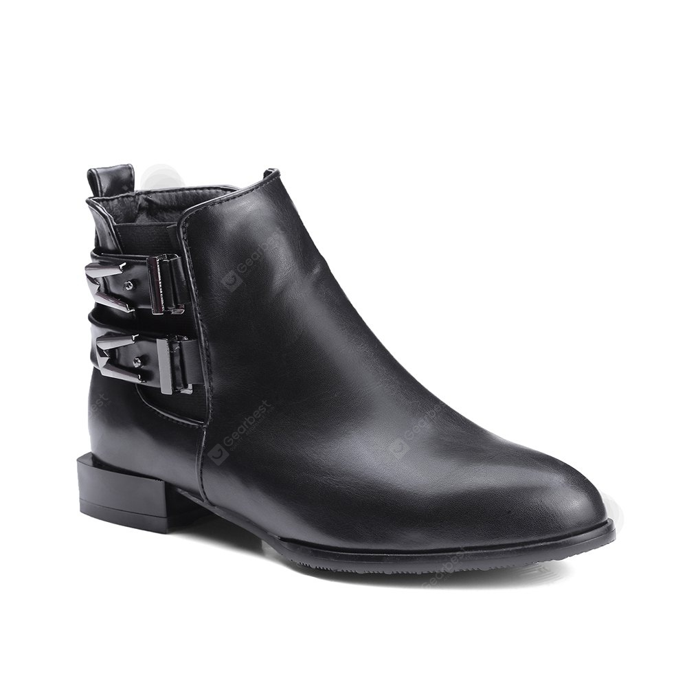 Women's Boots Solid Color Plain Style Buckle Decorated All Match Ankle Thick Heel Pointed Toe Shoes