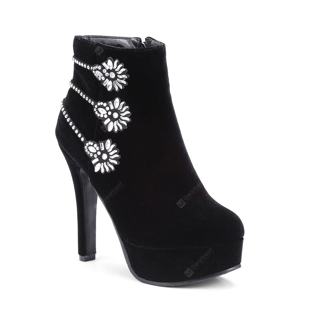 Botas de mujer Ladylike Solid Color Flower Pattern Rhinestone Decor High Heel Shoes