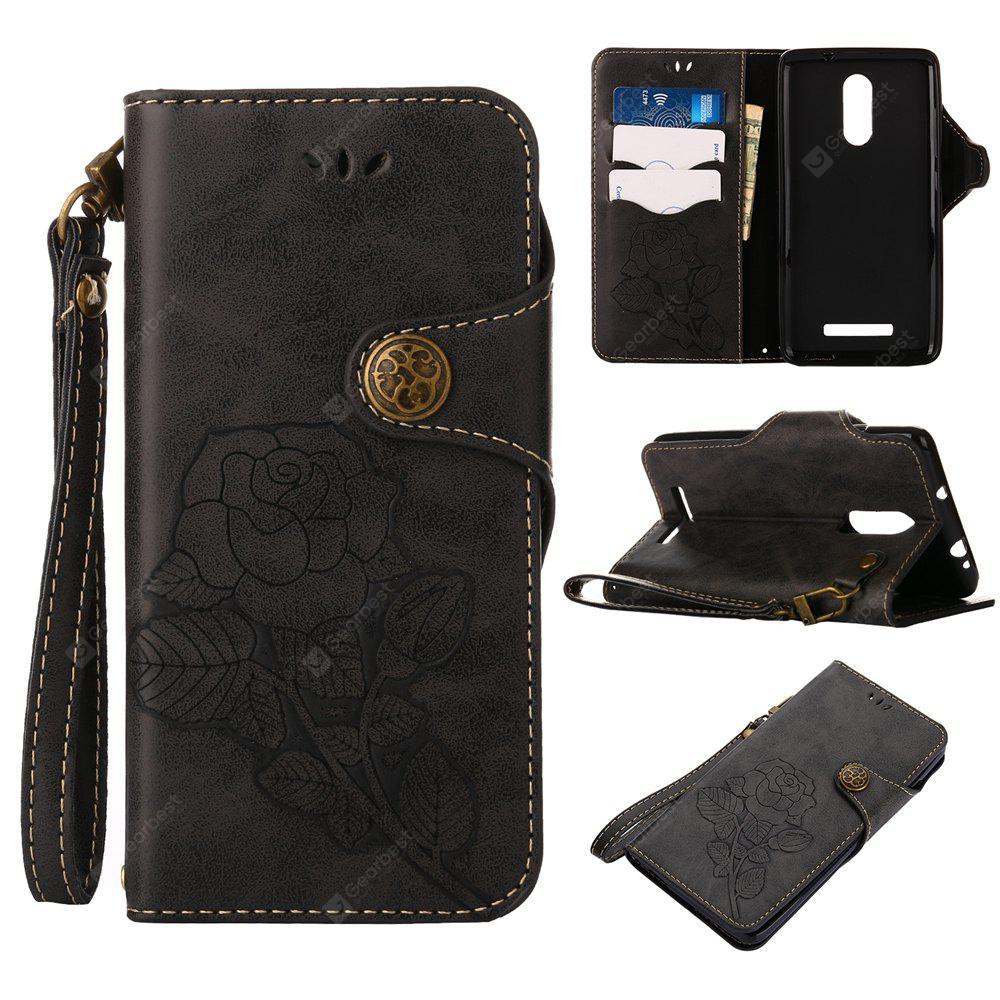Retro Rose PU Leather Magnetic Closure Flip Wallet Protective Case with Lanyard for Xiaomi Redmi Note 3