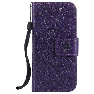 Buy PURPLE Sun Flower Printing Design Pu Leather Flip Wallet Lanyard Protective Case for iPod Touch 5 / 6 for $5.66 in GearBest store