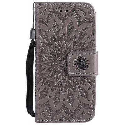 Buy GRAY Sun Flower Printing Design Pu Leather Flip Wallet Lanyard Protective Case for iPod Touch 5 / 6 for $5.66 in GearBest store