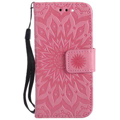 Buy PINK Sun Flower Printing Design Pu Leather Flip Wallet Lanyard Protective Case for iPod Touch 5 / 6 for $5.66 in GearBest store