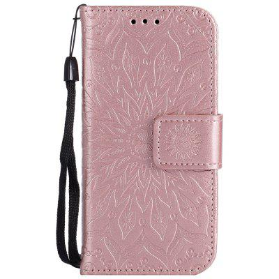 Buy ROSE GOLD Sun Flower Printing Design Pu Leather Flip Wallet Lanyard Protective Case for iPod Touch 5 / 6 for $5.66 in GearBest store