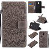 Sun Flower Printing Design Pu Leather Flip Wallet Lanyard Protective Case for Samsung Galaxy J5 Pro 2017 J530 (European Version) - GRAY