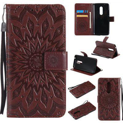 Buy BROWN Sun Flower Printing Design Pu Leather Flip Wallet Lanyard Protective Case for ZTE Axon 7 for $6.48 in GearBest store