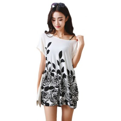 Buy BLACK Women's Fashion Large Size Silk Printing Short Sleeved T for $12.74 in GearBest store
