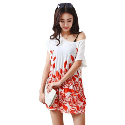 Buy RED Women's Fashion Large Size Silk Printing Short Sleeved T for $12.74 in GearBest store