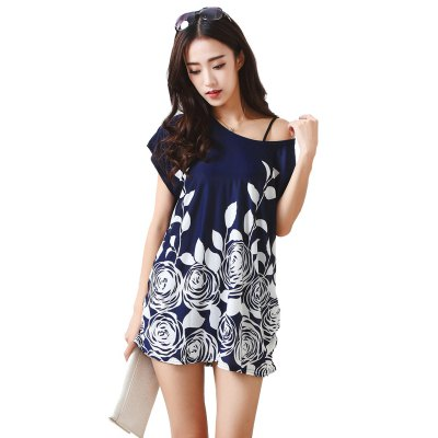 Buy DEEP BLUE Women's Fashion Large Size Silk Printing Short Sleeved T for $12.74 in GearBest store