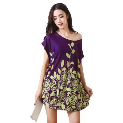 Buy PURPLE Women's Fashion Large Size Silk Printing Short Sleeved T for $12.74 in GearBest store