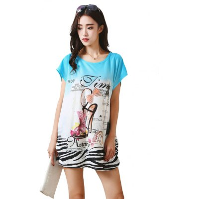 Buy LIGHT BLUE Womens Fashion Large Size Silk Printing T-shirt for $12.74 in GearBest store