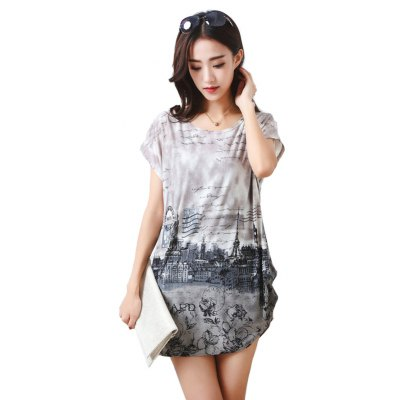 Buy GRAY Women's Fashion Casual Large Size Silk Printing T-shirt for $12.74 in GearBest store