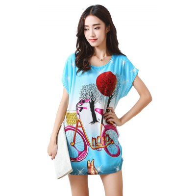 Buy LIGHT BLUE Women's Fashion Casual Large Size Silk Printing T-shirt WYD013 for $12.74 in GearBest store