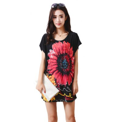 Buy BLACK Women's Fashion Casual Large Size Silk Printing T-shirt WYD017 for $12.74 in GearBest store