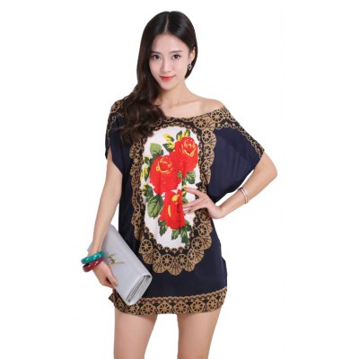 Buy DEEP BLUE Women's Fashion Casual Large Size Silk Printing T-shirt WYD018 for $12.74 in GearBest store