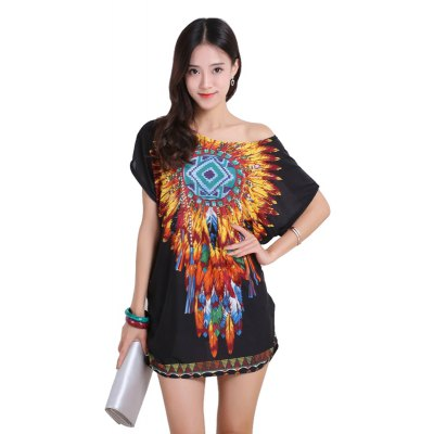 Buy BLACK Women's Fashion Casual Large Size Silk Printing T-shirt WYD019 for $12.74 in GearBest store